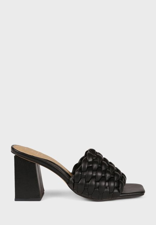 Braided Block Heel Mule Sandal