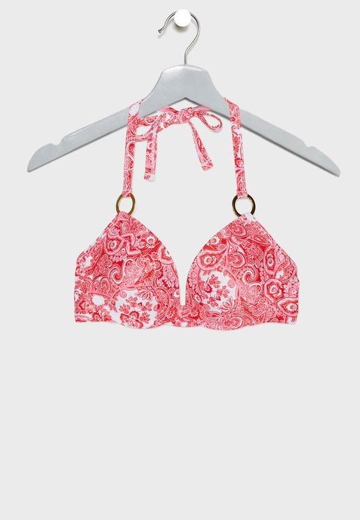 Scarf Print Bikini Top