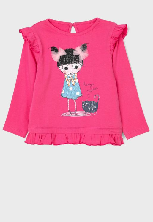 Infant Graphic Ruffle Top