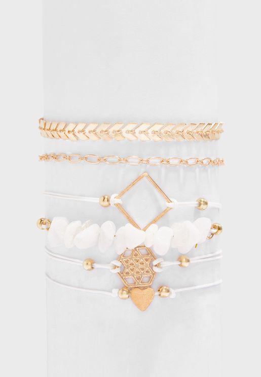 Multipack Beading Detail Bracelet Set