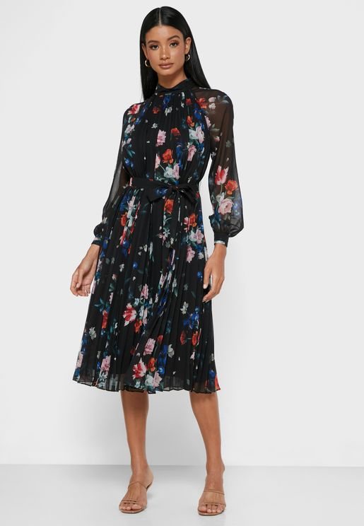 Naniro Floral Print Pleated Dress
