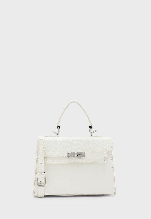 Scarf Tie Handle Croc Mini Handbag