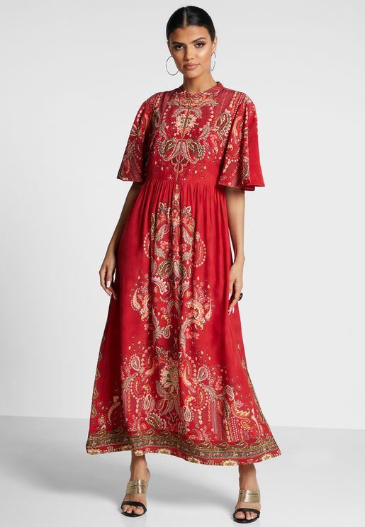 Paisley Print Angel Sleeve Dress