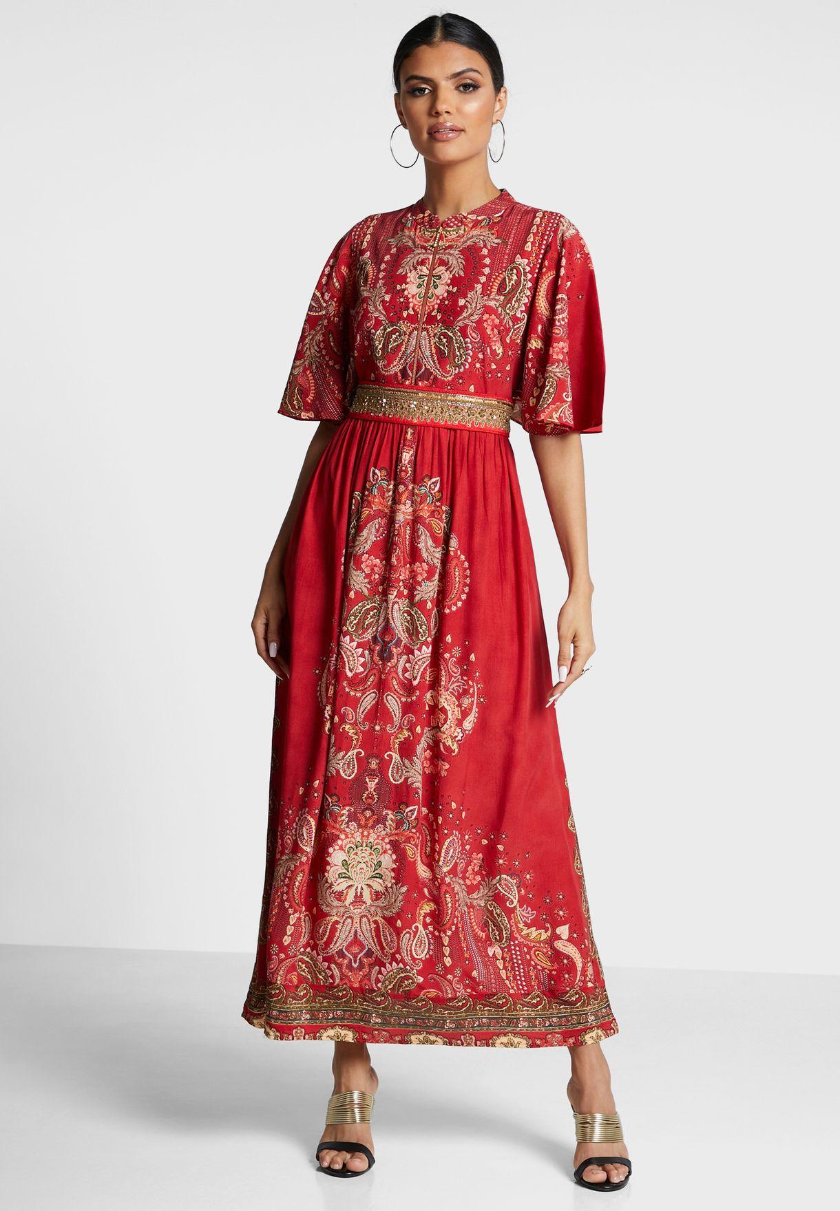 Paisley Print Angel Sleeve Dress