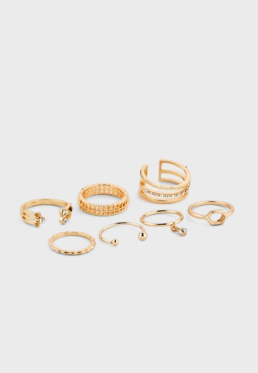 7 Pack Mixed Pretty Delicate Rings