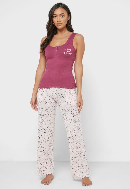 Frill Trim Cami Strap Top & Printed Pyjama Set