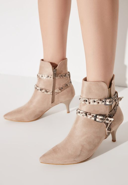 Suede Ankle Strap Boot