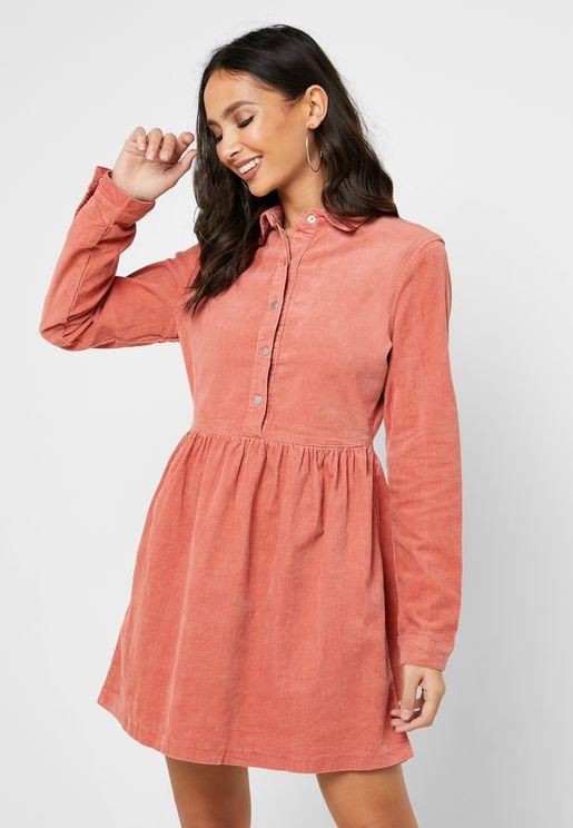 Ruffle Hem Button Detail Dress