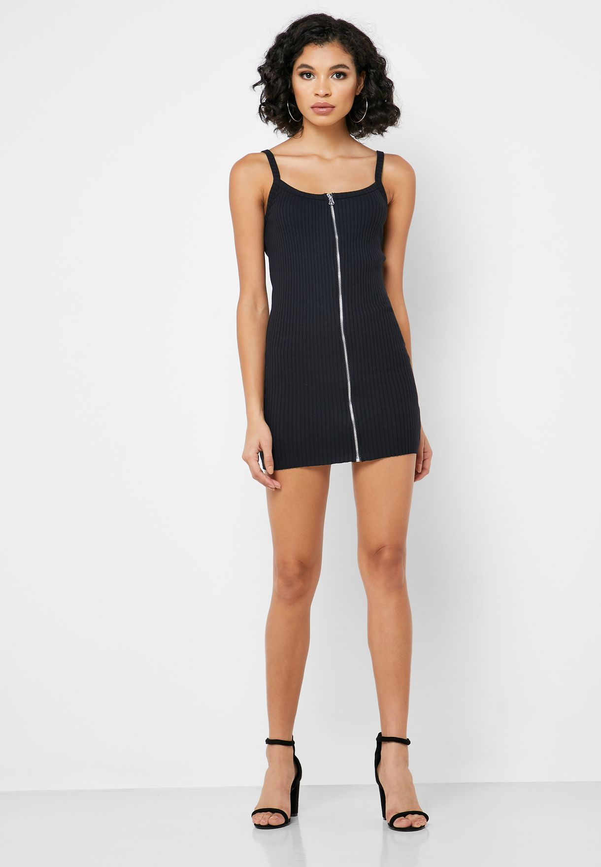 Raw Hem Zip Detail Dress