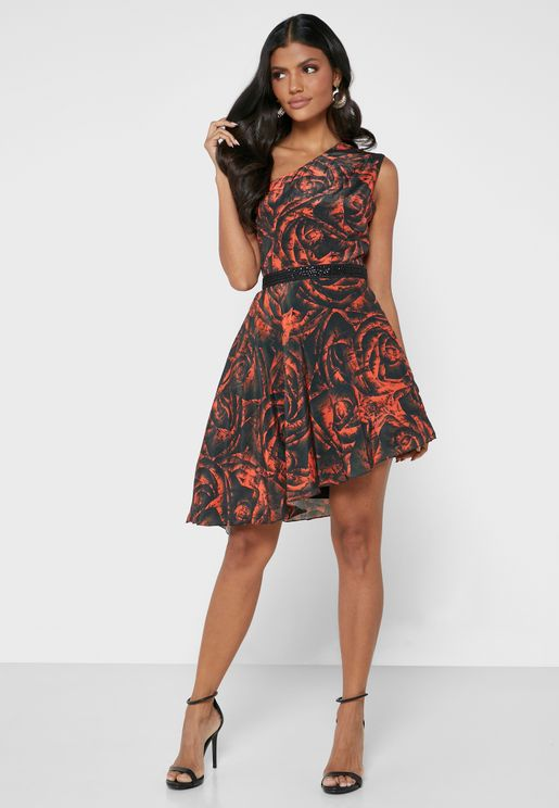 فستان مطبع بكتف واحد