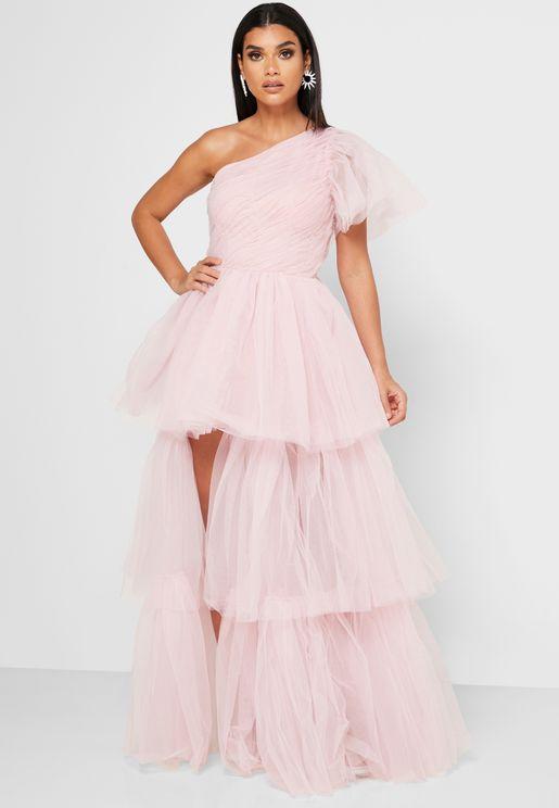 One Shoulder Layered Mesh Dress