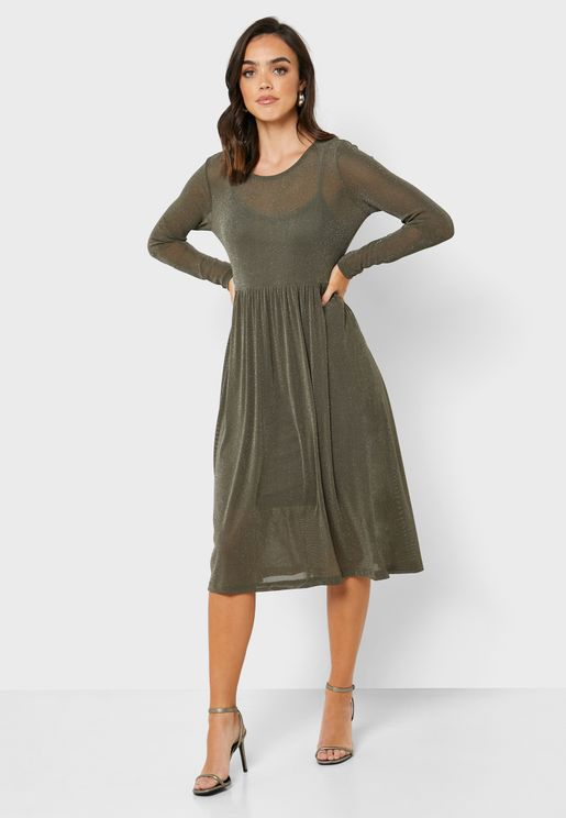Semi Sheer Glitter Dress