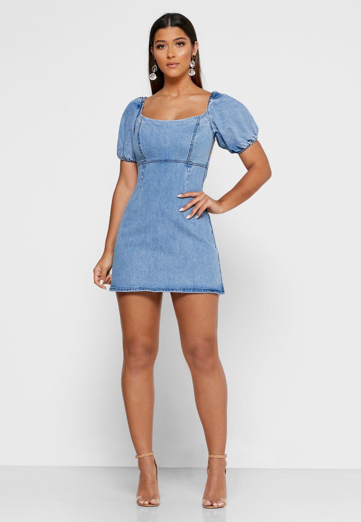 Coco Puff Sleeve Denim Dress