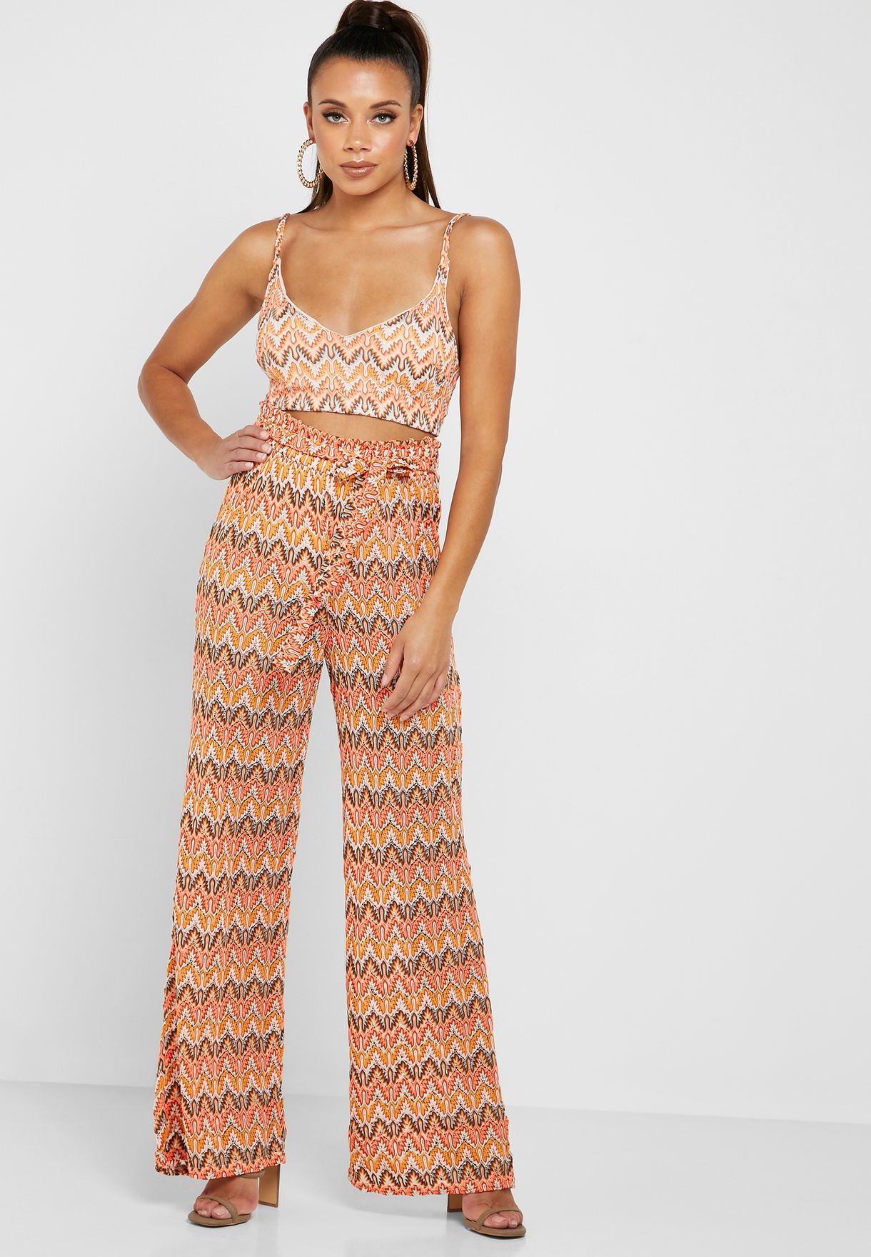 Chevron Print Cropped Top Co Ord