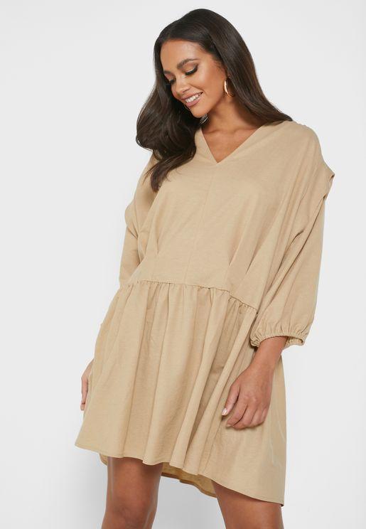Drop Shoulder Dress With Tucks