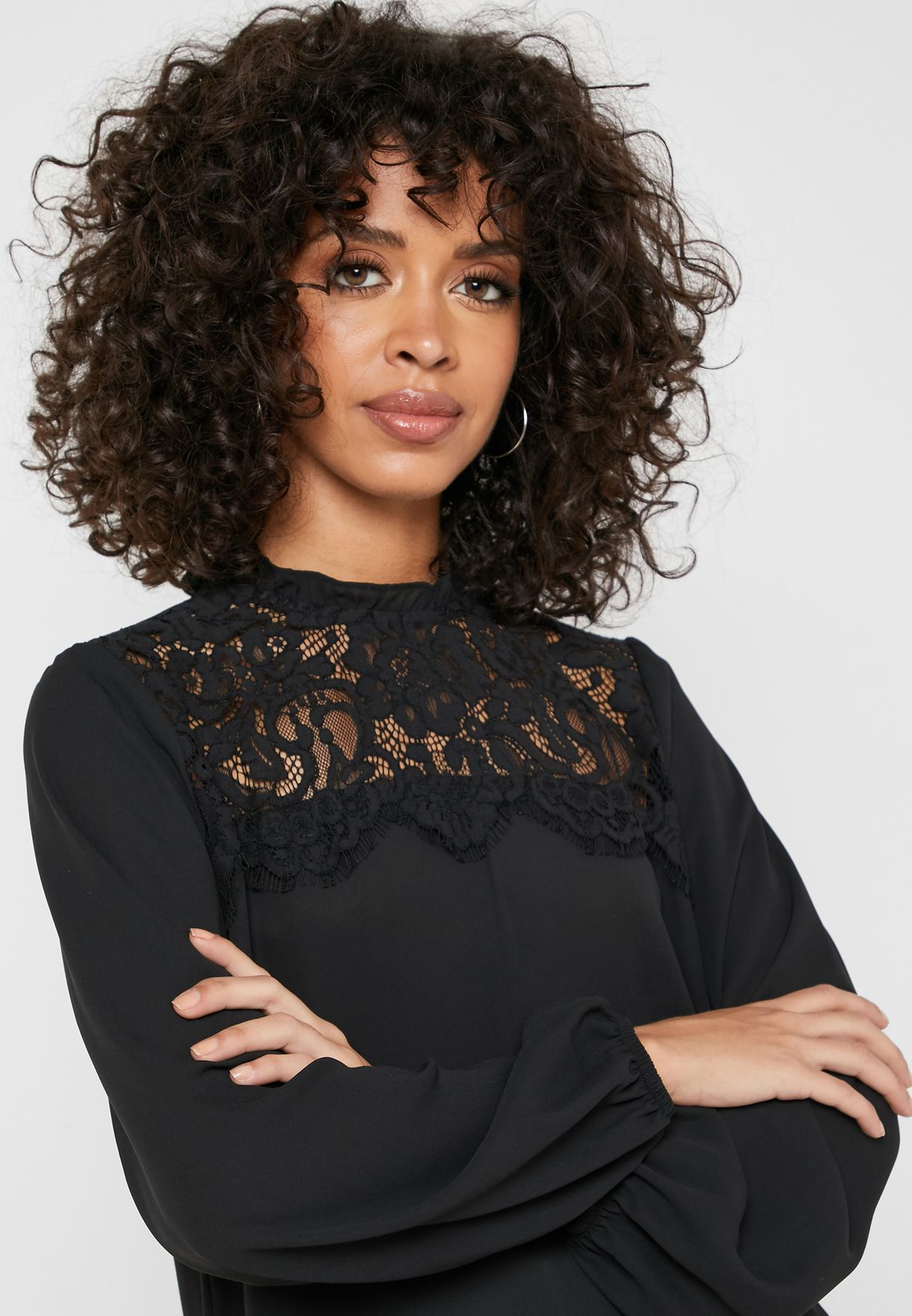 Lace Detail Balloon Sleeve Top