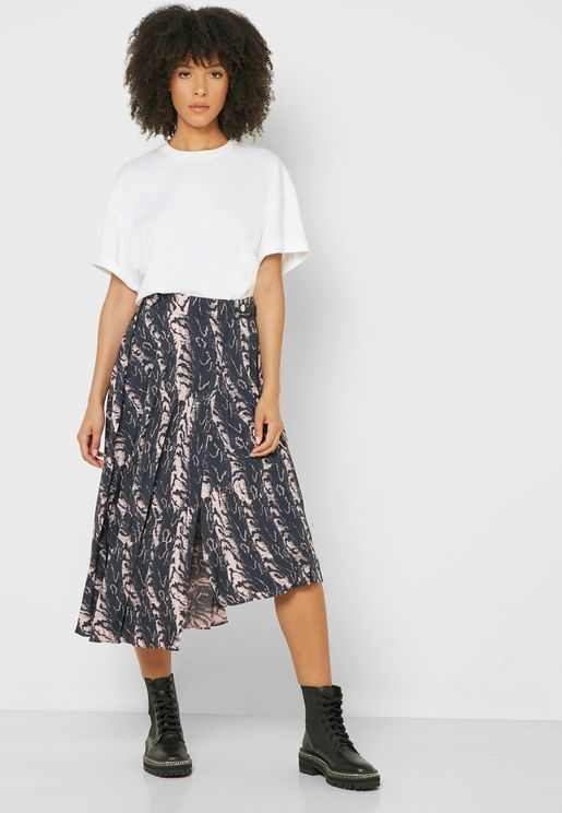 Pleated Printed  Midi Skirt