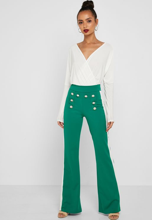 Button Detail Contrast Side Paneled Pants