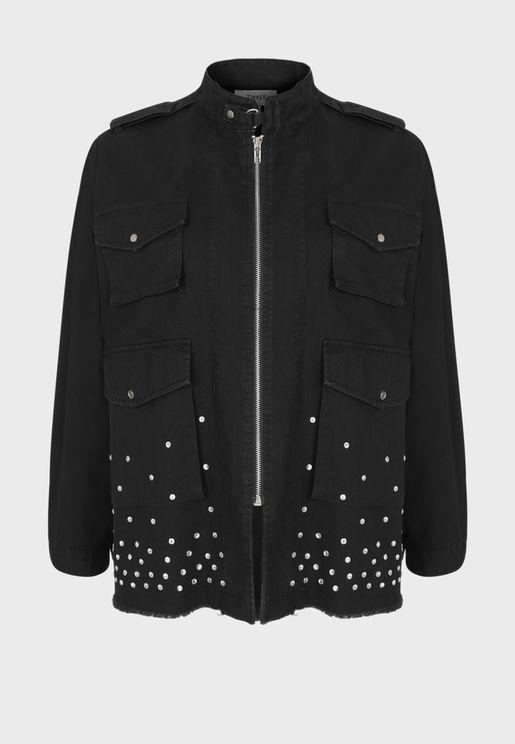 Embellished Zip Through Denim Jacket