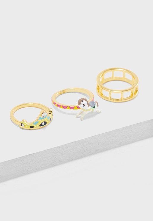 Three Bands Carousel Ring Set