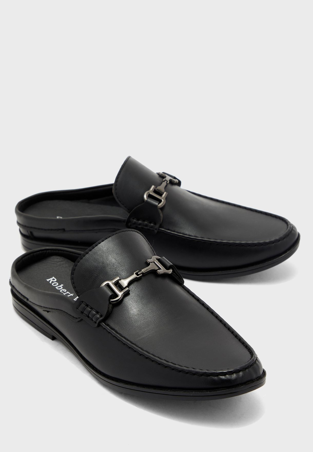 Saddle Detail Loafer Mules