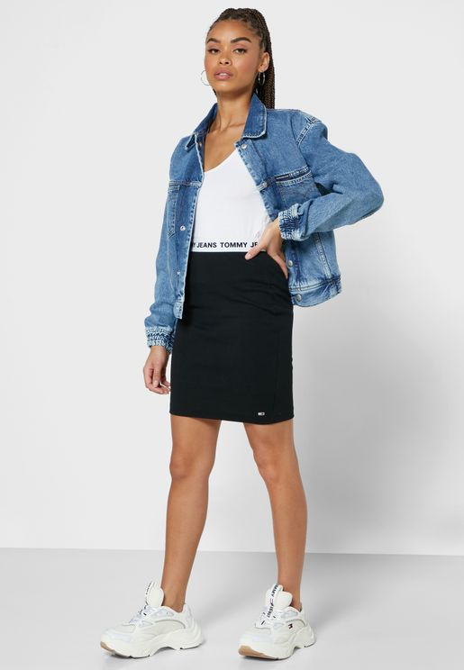 Logo Band Bodycon Skirt