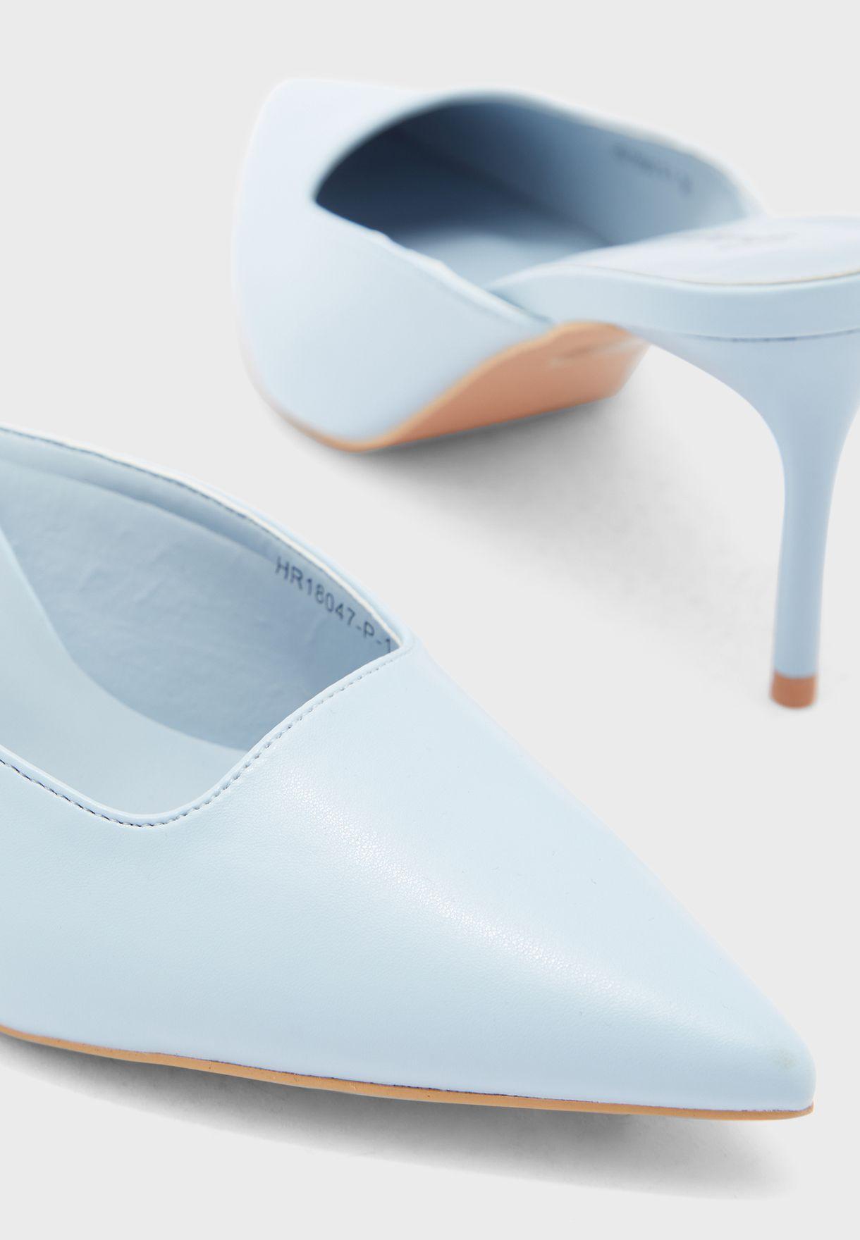 Square Detail Pointed Stiletto Heel Pump