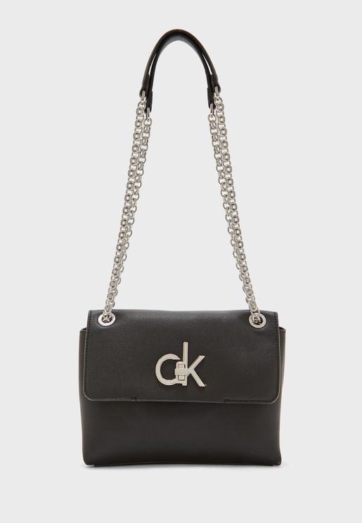 Logo Chain Detail Flap Over Crossbody