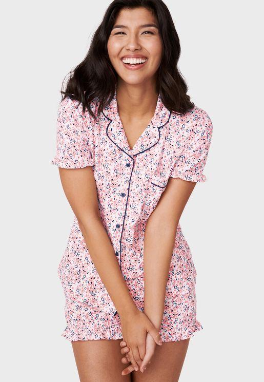 Butterfly Print Pyjama Top
