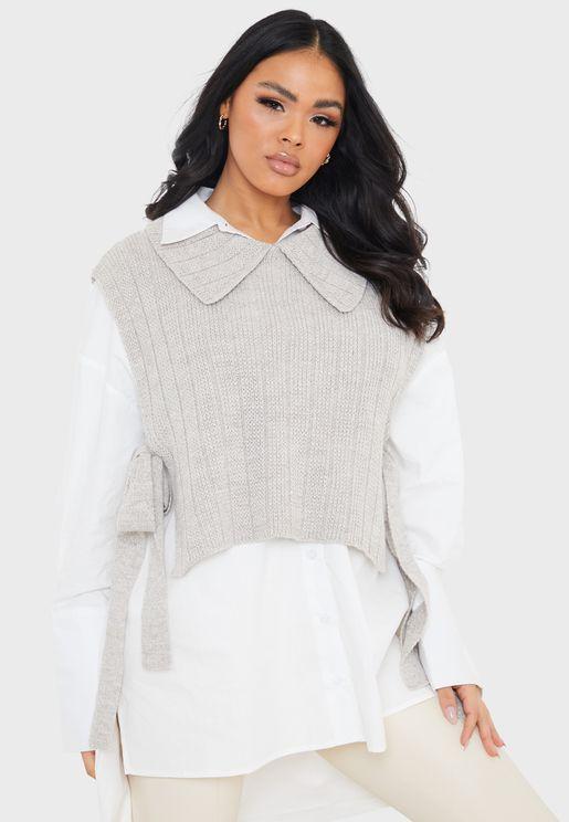 Knitted Tie Side Bib Sweater