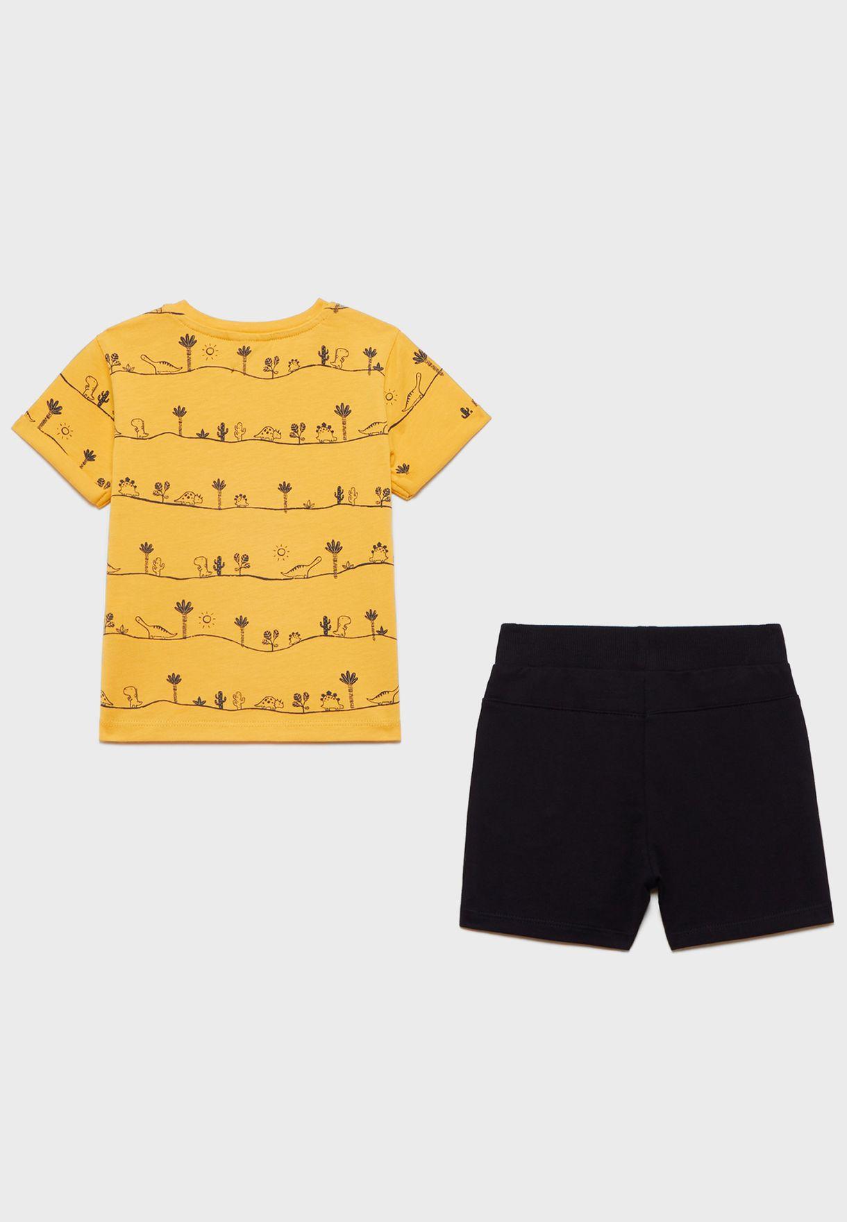 Infant Printed T-Shirt + Shorts Set