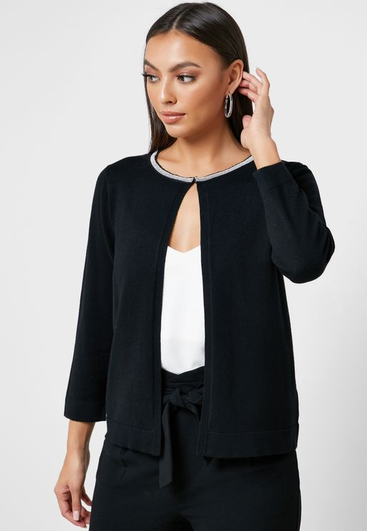 Trim Neck Cardigan