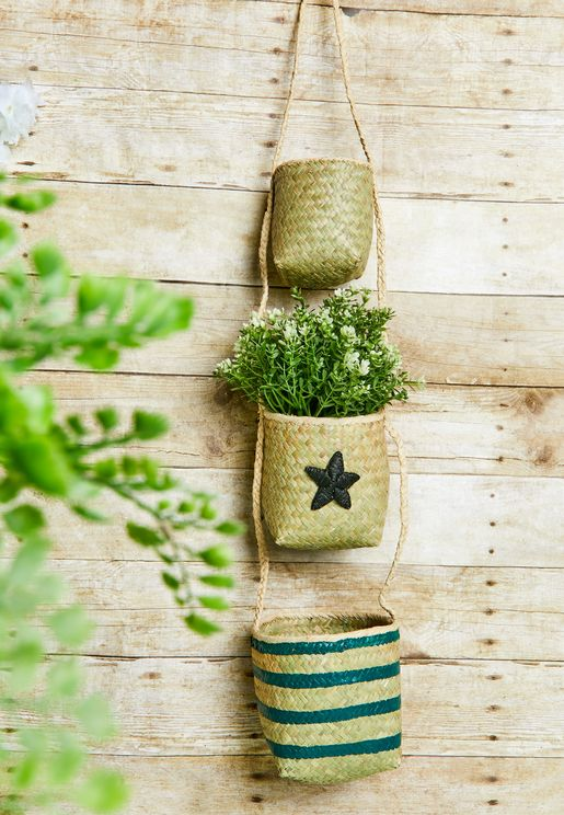 Seagrass Hanging Storage Baskets With Star Design
