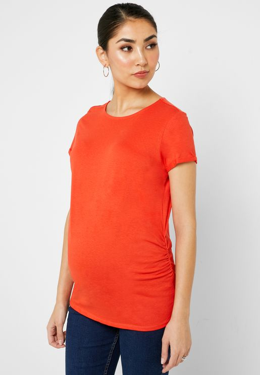 Ruched Detail Crew Neck T-Shirt