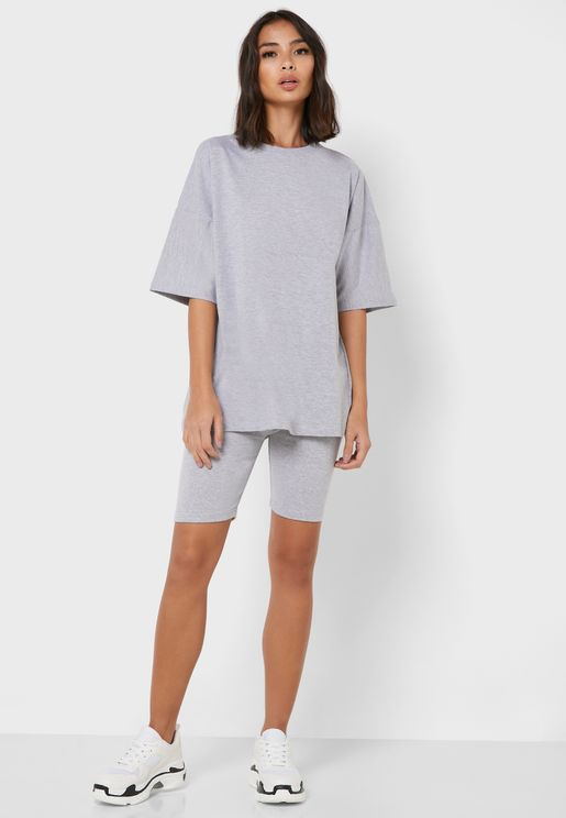 Crew Neck T-Shirt & Cycling Shorts Set Co Ord