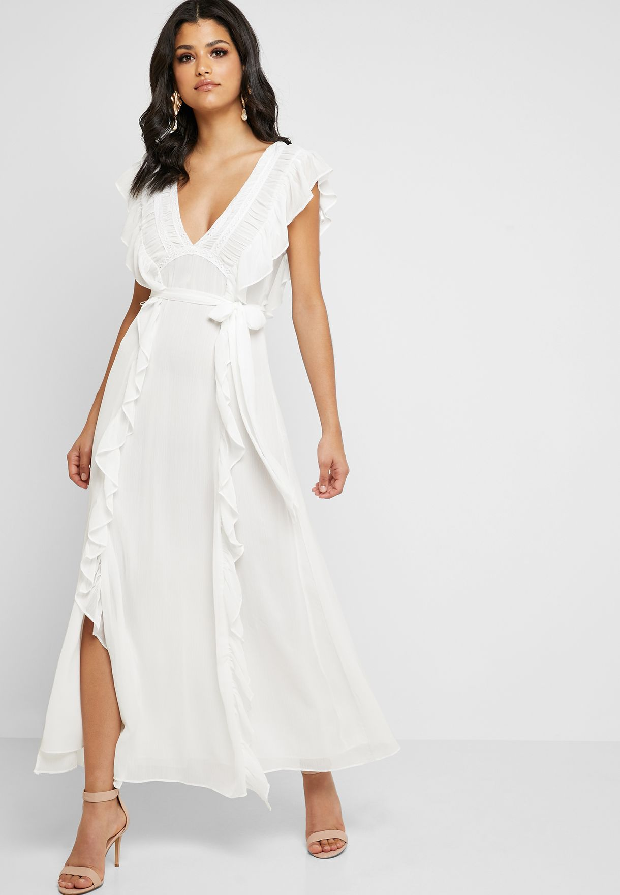 Ruffle Detail Maxi Dress