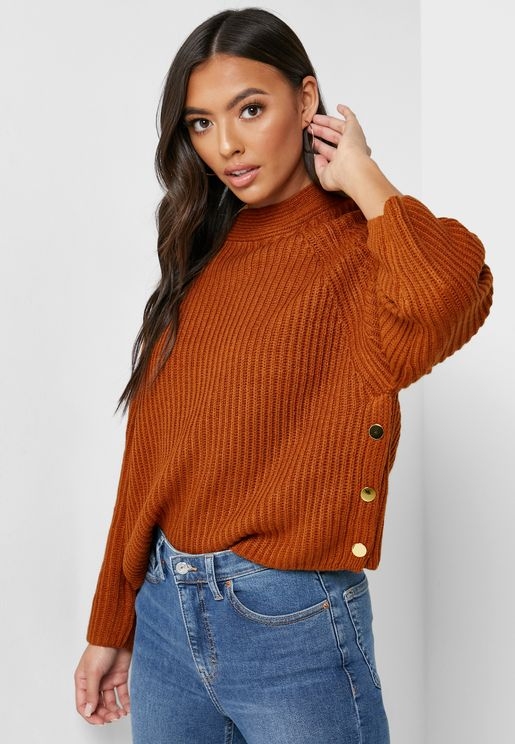 Button Detail Ribbed Sweater