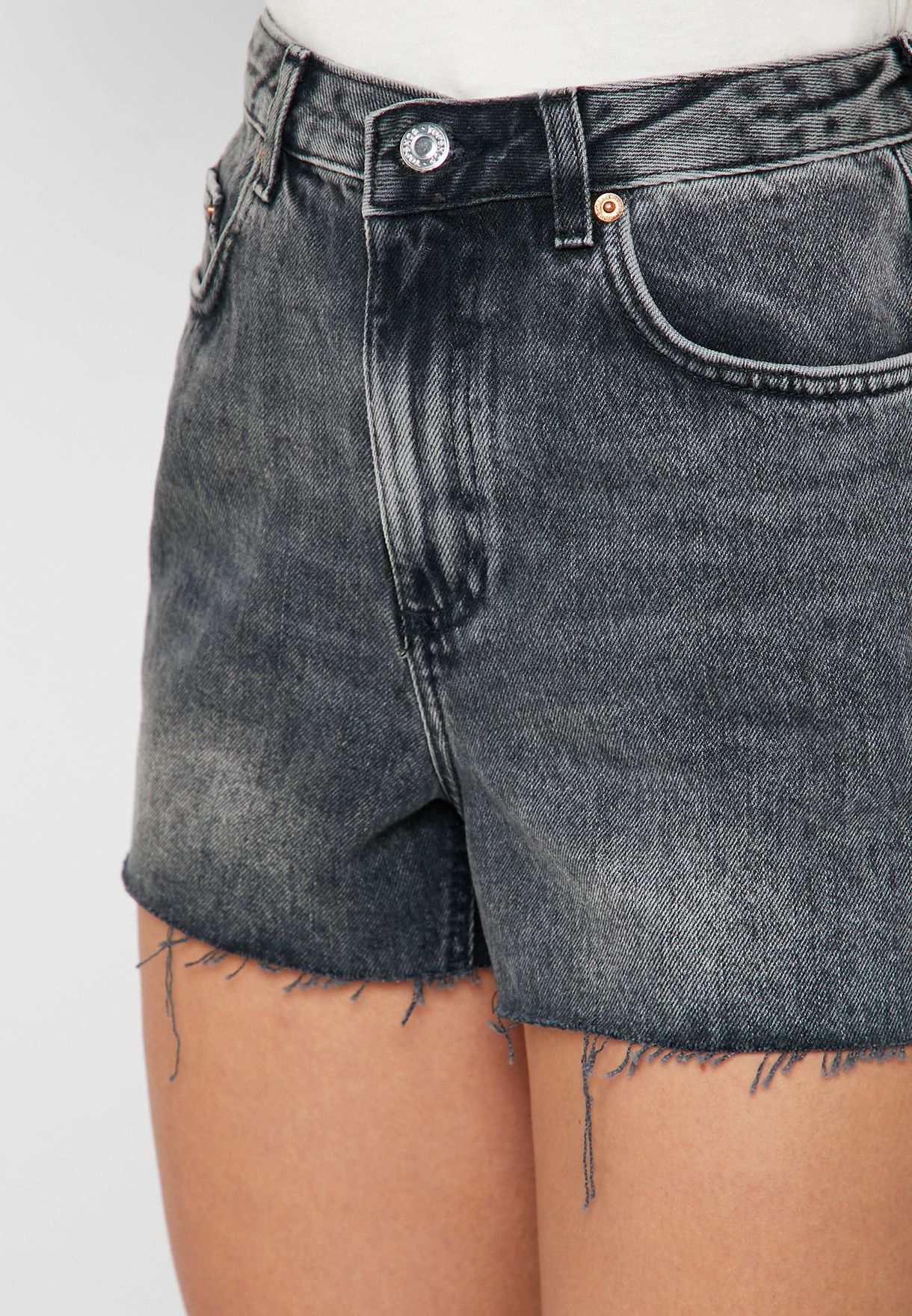 Raw Hem Denim Mom Shorts