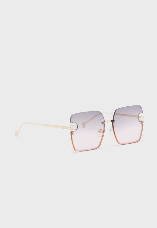 Pearl Detail Ombre Lens Square Sunglasses