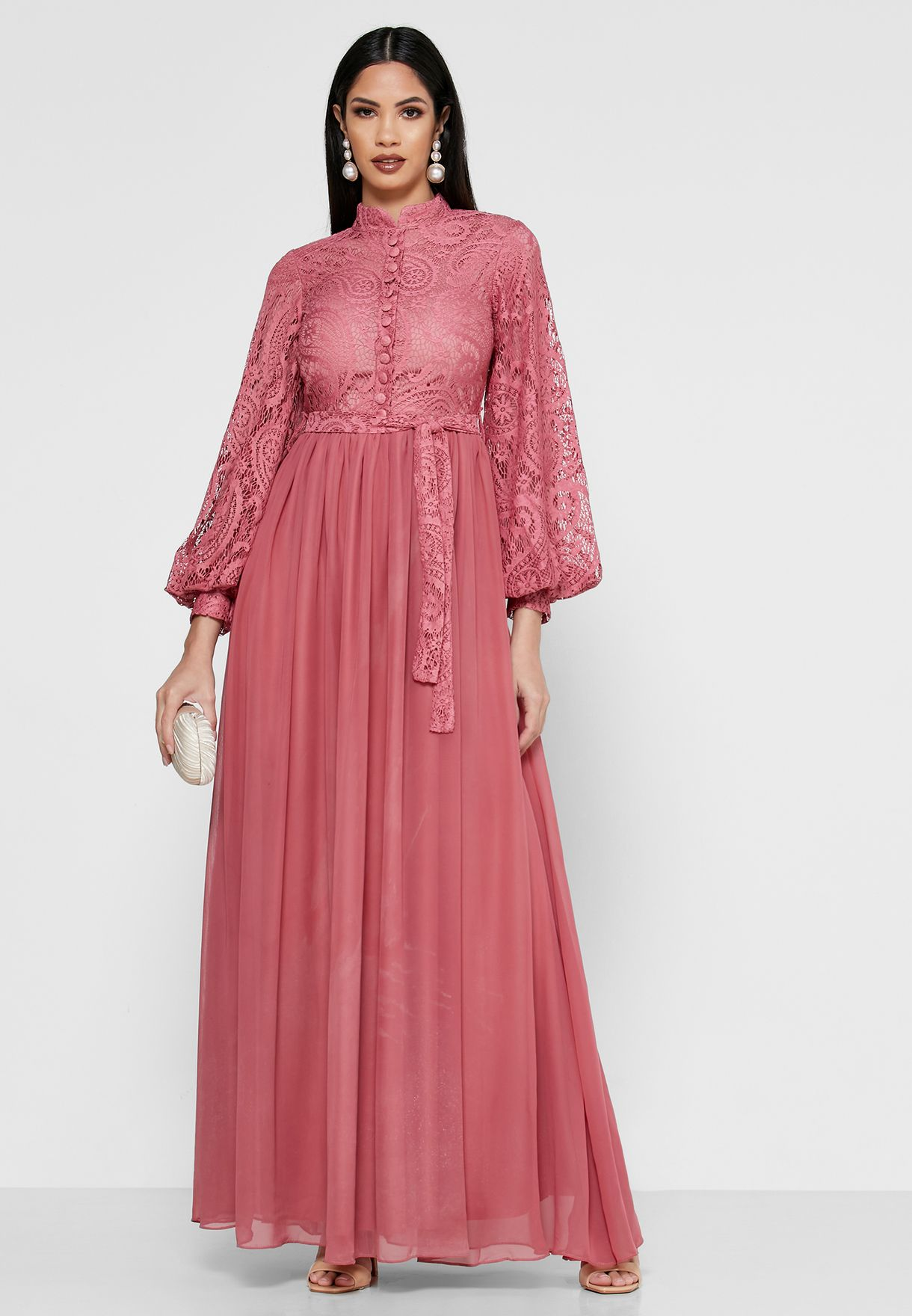 Lace Top Self Tie Shirt Maxi Dress