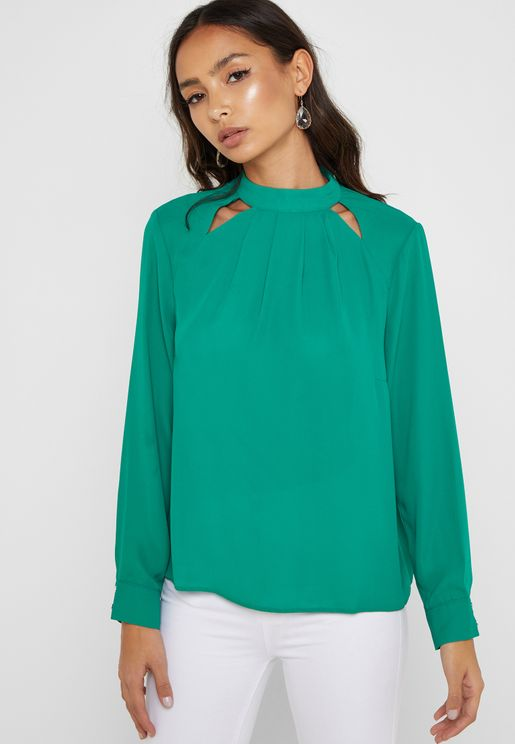 Cut Out Detail High Neck Top