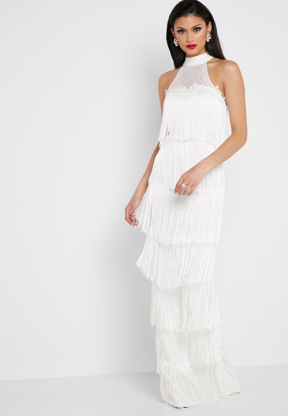 Tiered Fringed Halterneck Maxi Dress