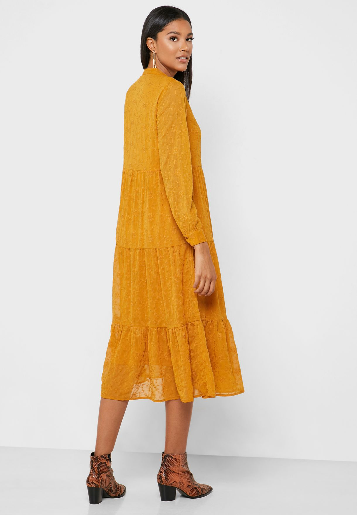 Buy Pieces Yellow Embroidered Button Down Dress For Women, Uae 57552at92dwp