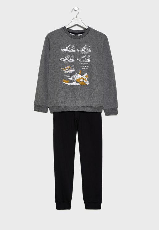 Kids Graphic Sweatshirt + Sweatpants Set