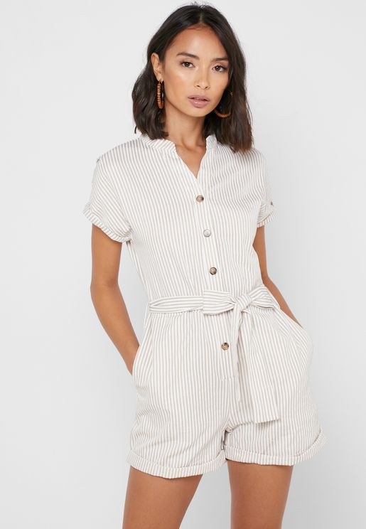 Striped Button Front Jumpsuit