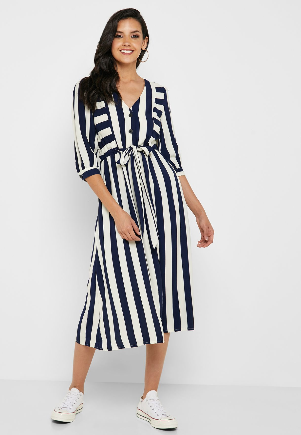 Striped Drawstring Midi Dress