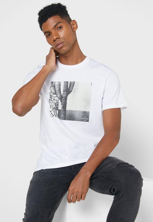 Cactus Print Crew Neck T-Shirt