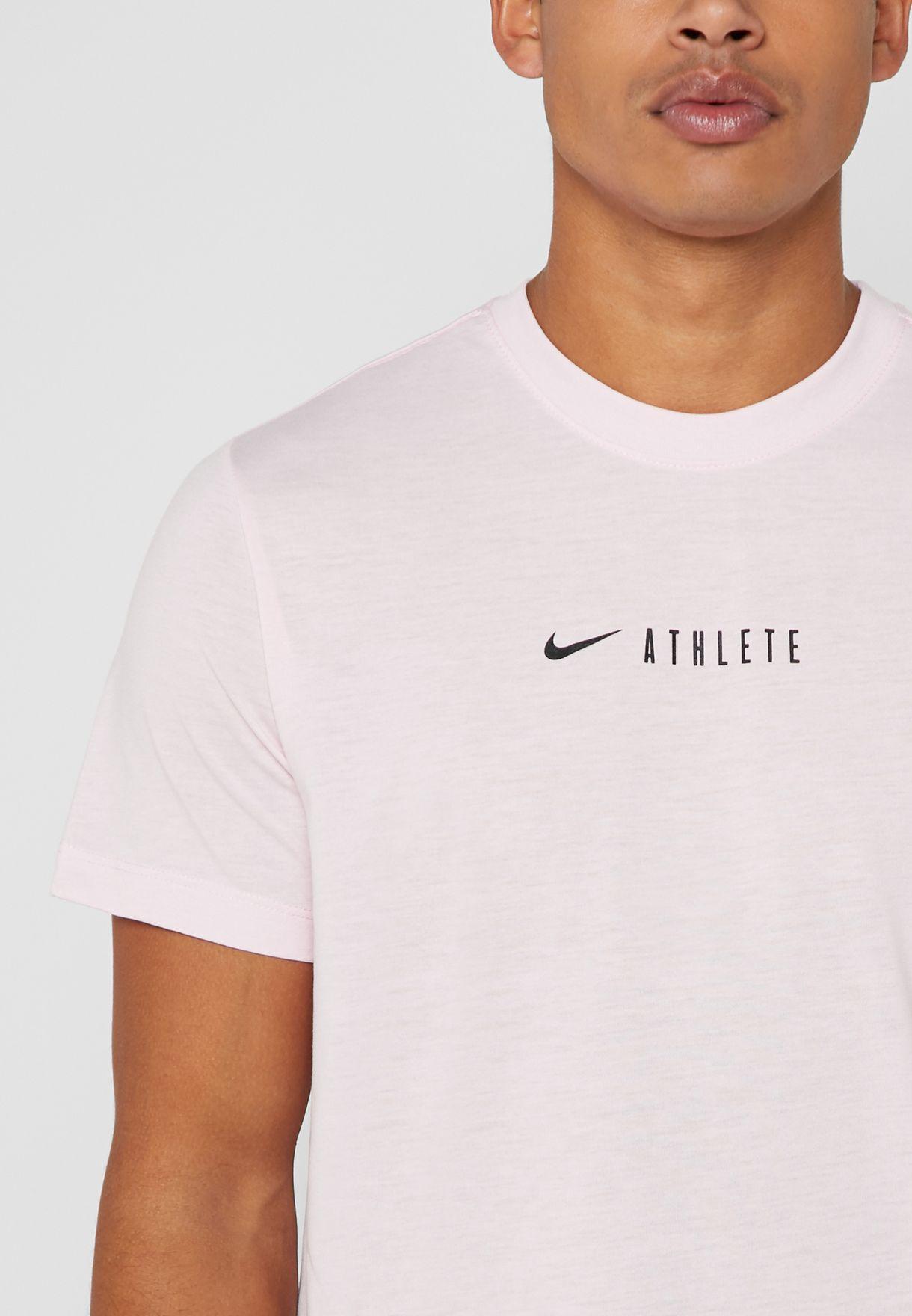 02a37734 Shop Nike pink Dri-FIT Athlete T-Shirt AR6012-663 for Men in Qatar ...