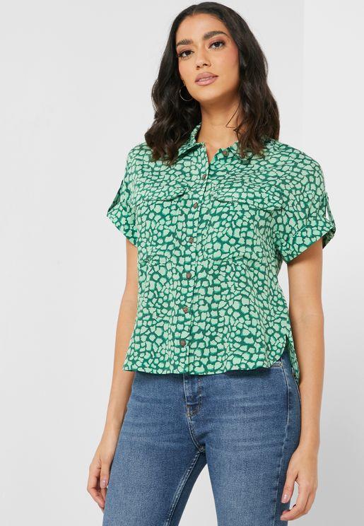 Roll Sleeve Printed Shirt