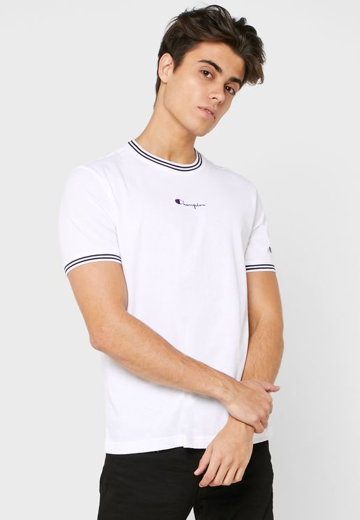 Striped Ringer Script Logo T-Shirt